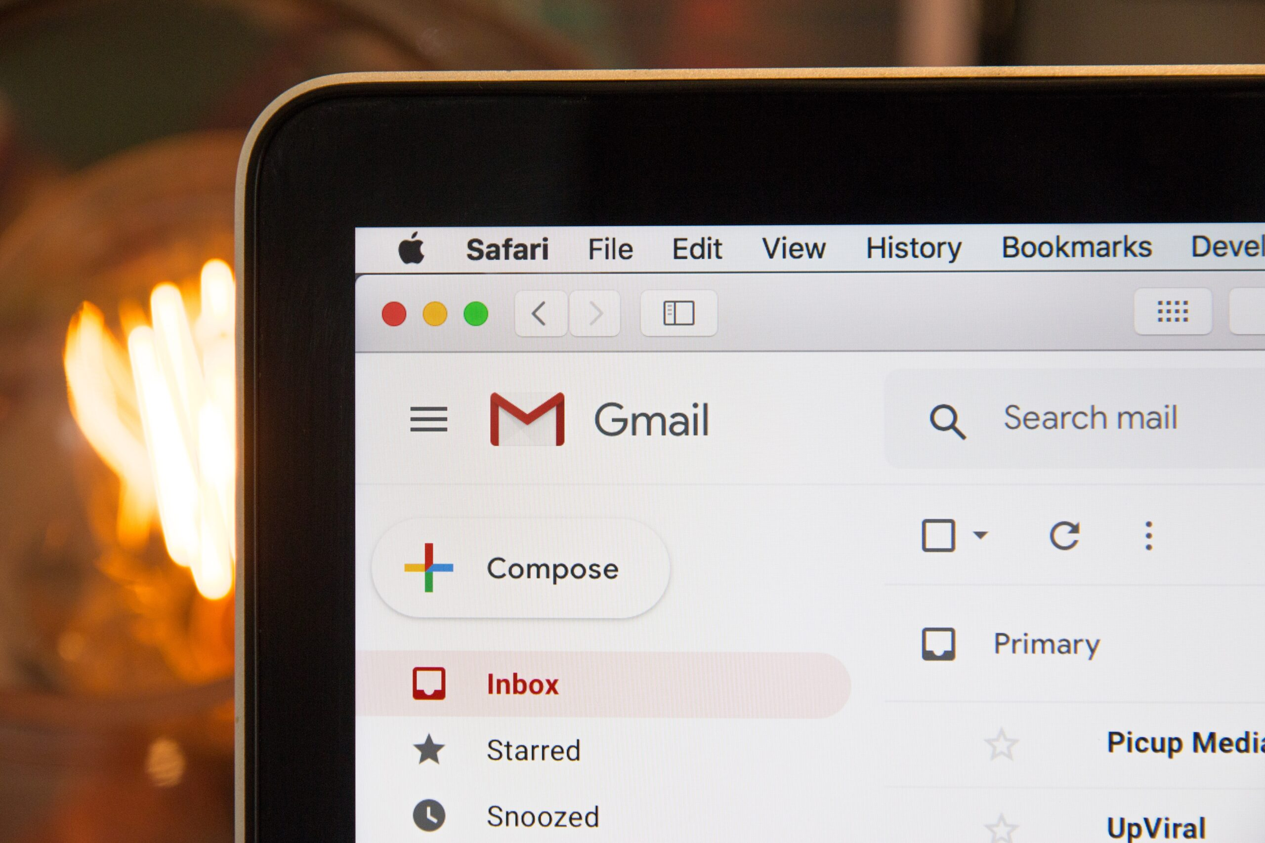 Picture of Gmail displayed on an ipad screen