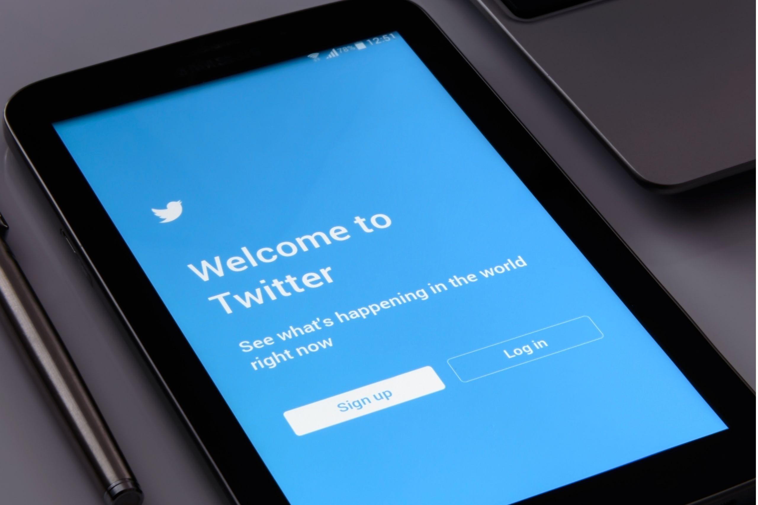 Twitter login page on an iPad
