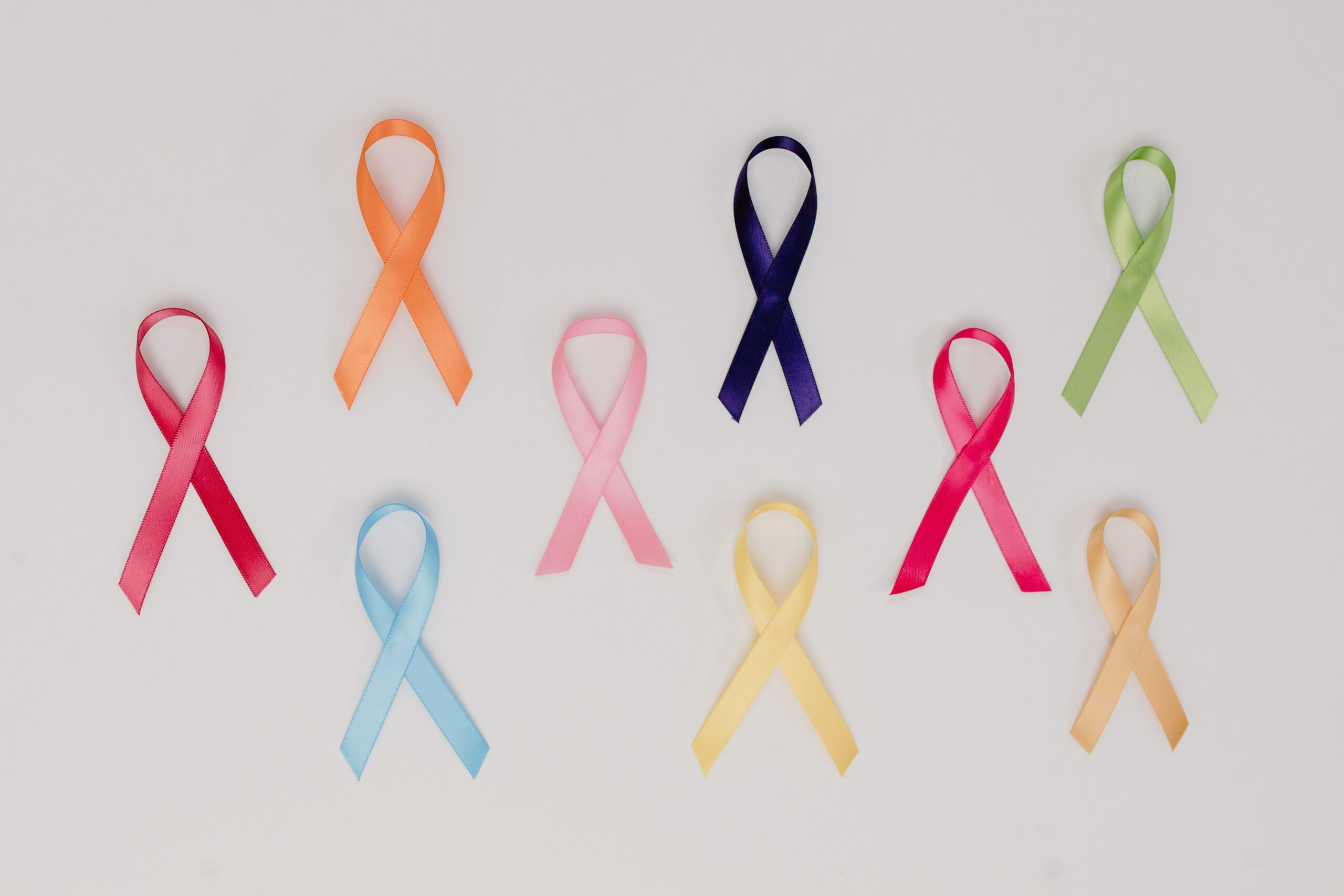 multicoloured charity ribbons on a white background